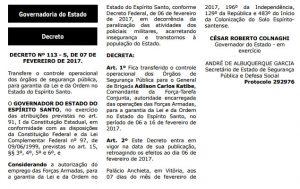 Decreto-113-s/ Intervenção militar